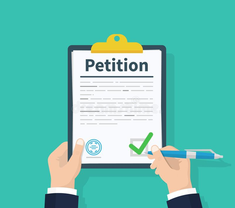 concept de pétition Le presse-papiers de prise d'homme écrit à disposition le concept de pétition tableaux Conception plate, illu illustration stock