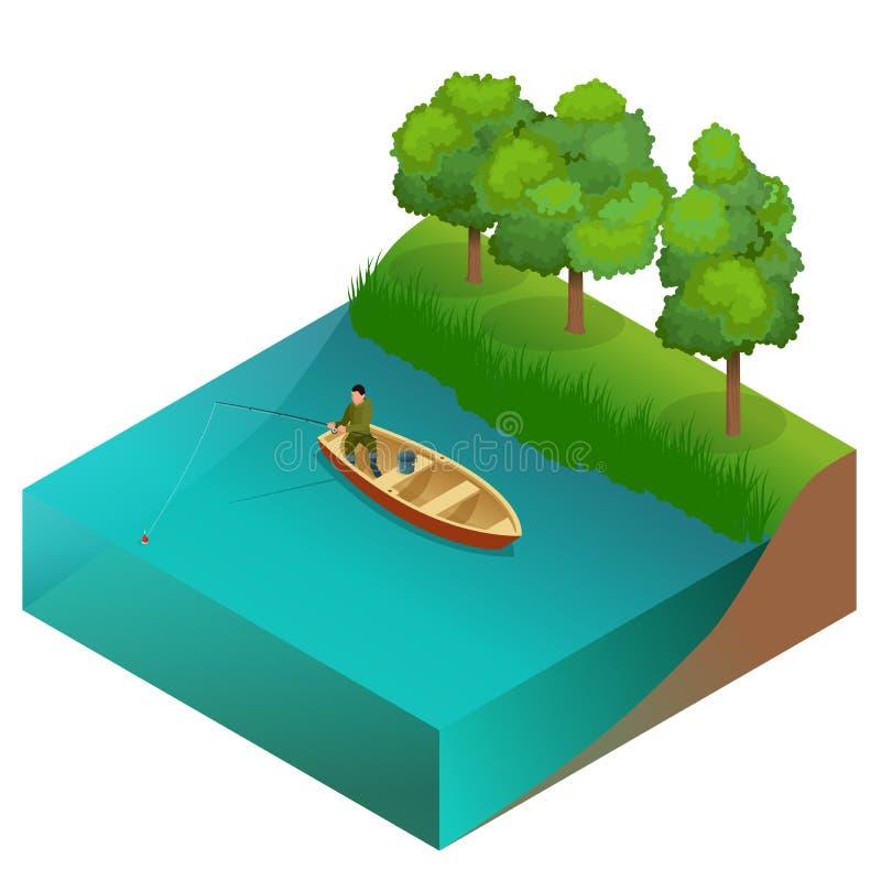 Concept de pêche Équipez la pêche sur un lac du bateau Pêcheur avec la tige Illustration isométrique du vecteur 3d plat illustration stock