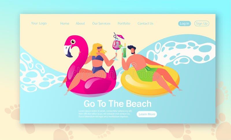 Concept de page de d?barquement des vacances d'?t?, th?me de vacances Caractères de арpу de  de Ð se reposant en cercles pour illustration libre de droits