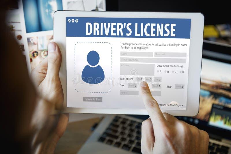 Concept de page Web d'application d'enregistrement de permis de conduire image libre de droits
