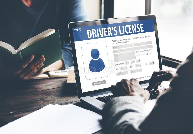 Concept de page Web d'application d'enregistrement de permis de conduire photo stock
