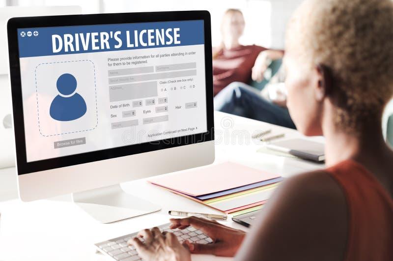 Concept de page Web d'application d'enregistrement de permis de conduire photographie stock