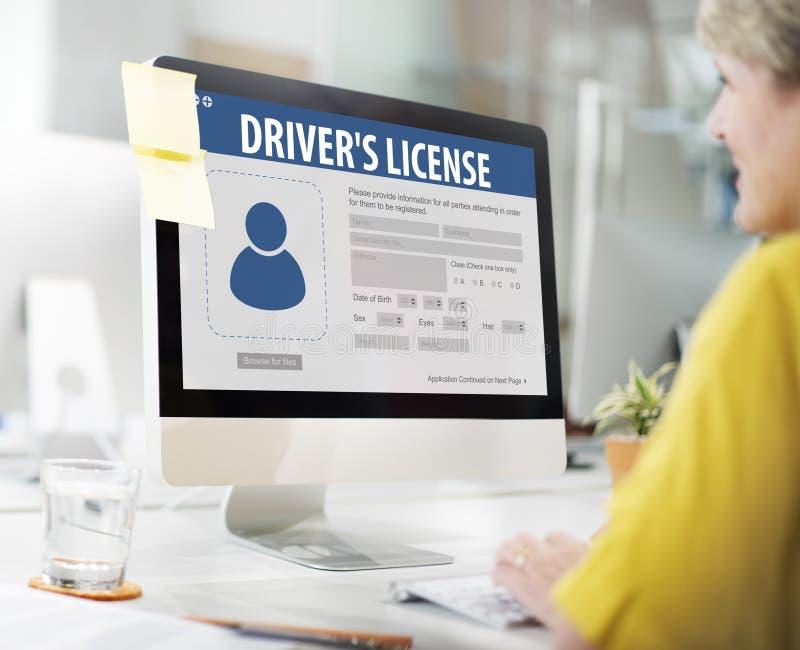 Concept de page Web d'application de Registeration de permis de conduire images libres de droits