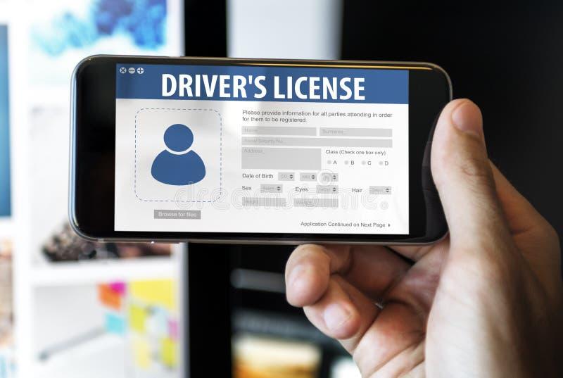 Concept de page Web d'application de Registeration de permis de conduire photographie stock libre de droits