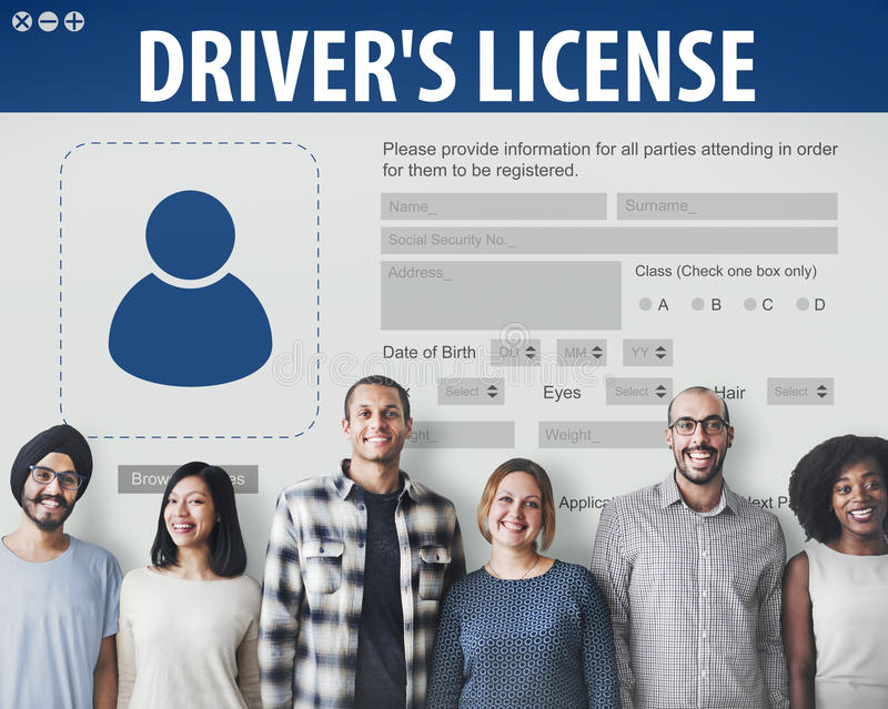 Concept de page Web d'application de Registeration de permis de conduire image libre de droits