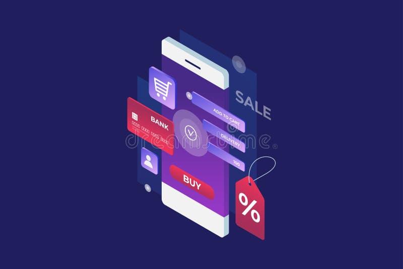 Concept de paiement d'Internet, achat mobile Achats en ligne illustration de vecteur