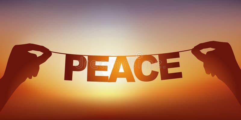 Concept de paix avec des mains tenant une bannière sur laquelle le livre de mot est écrit image libre de droits