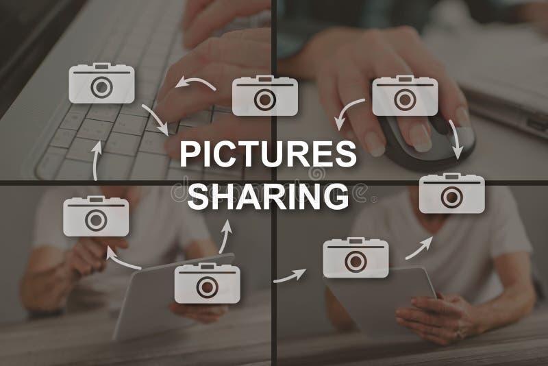 Concept de partager de photos photographie stock libre de droits