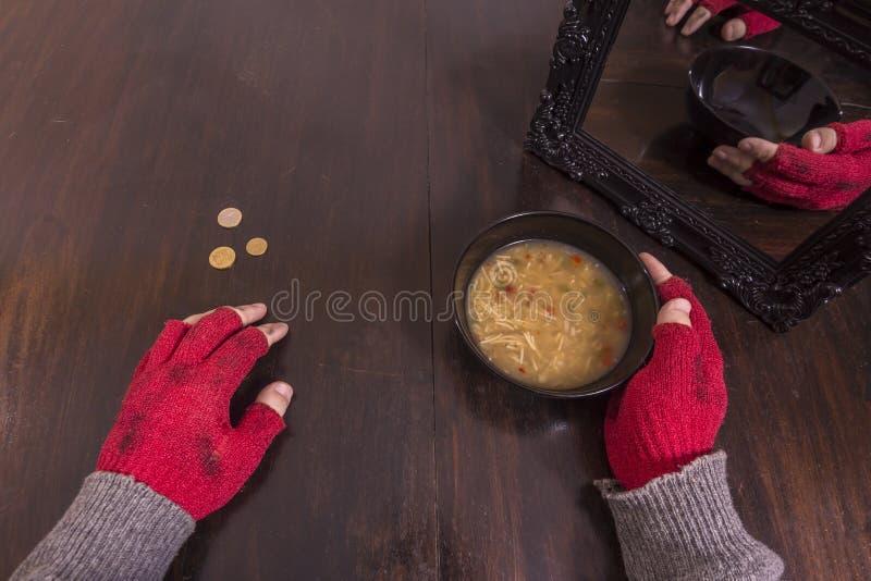Concept de pauvreté et d'illusion image stock