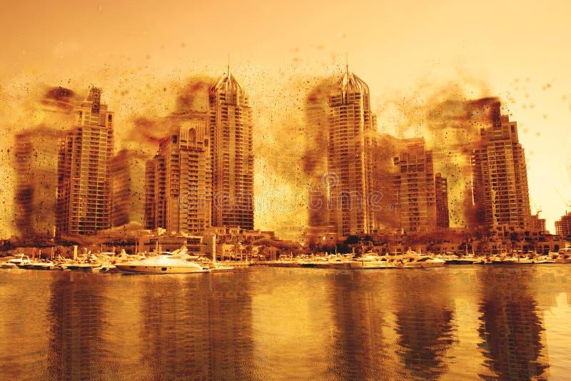 Concept de peinture numérique - Tempête de poussière dans la marina de Dubaï, Émirats Arabes Unis photographie stock