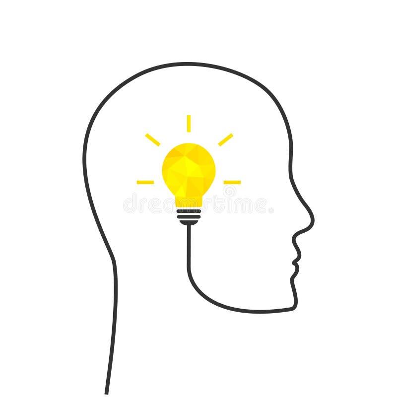 Concept de pensée abstrait avec l'ampoule brillante illustration libre de droits
