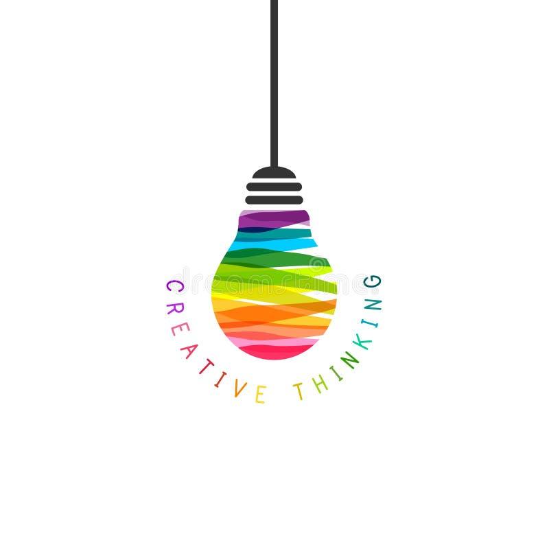 Concept de pensée créative avec accrocher l'ampoule illustration libre de droits