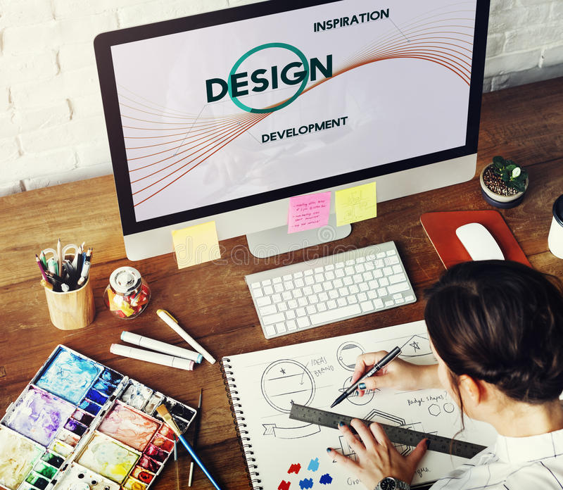 Concept de pensée créative de conception de développement d'inspiration images libres de droits