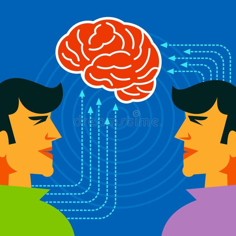 Concept de pensée de cerveau avec des flèches illustration libre de droits