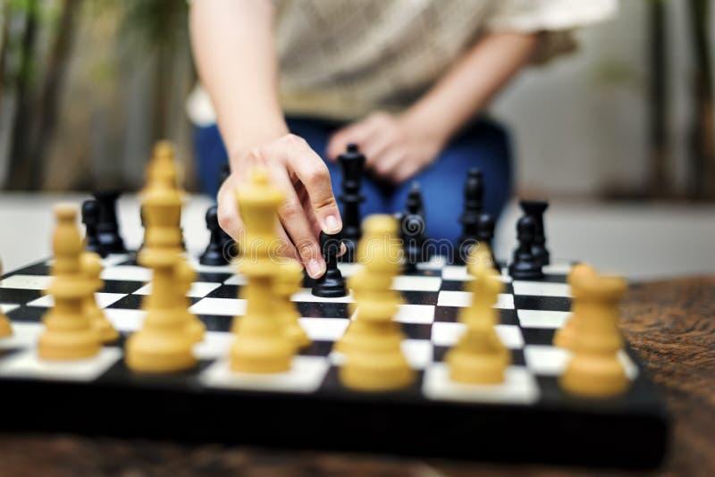 Concept de pensée de loisirs de passe-temps de jeu d'échecs images libres de droits