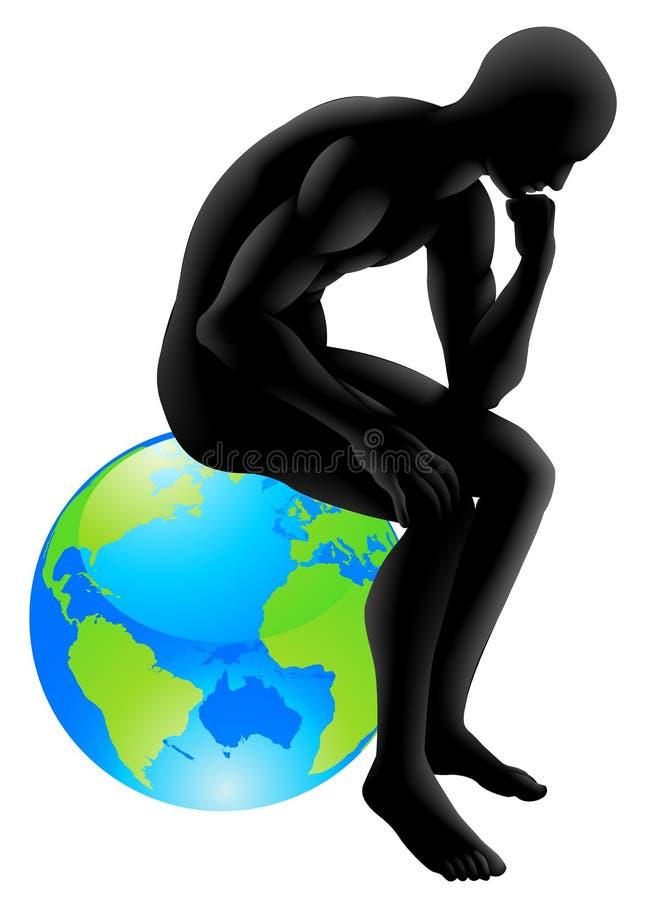 Concept de penseur de globe illustration de vecteur