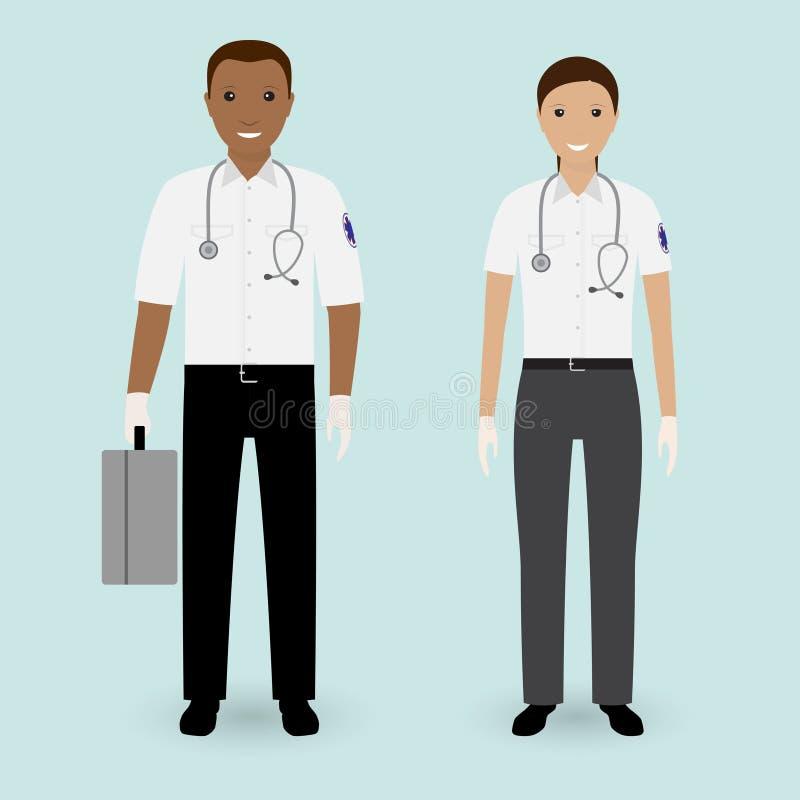 Concept de personnel hospitalier Équipe d'ambulance d'infirmiers Employé médical de serviice de secours masculin et femelle illustration stock