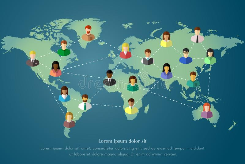 Concept de personnes et de connexion, de mise en réseau et de communication sur une carte du monde illustration de vecteur