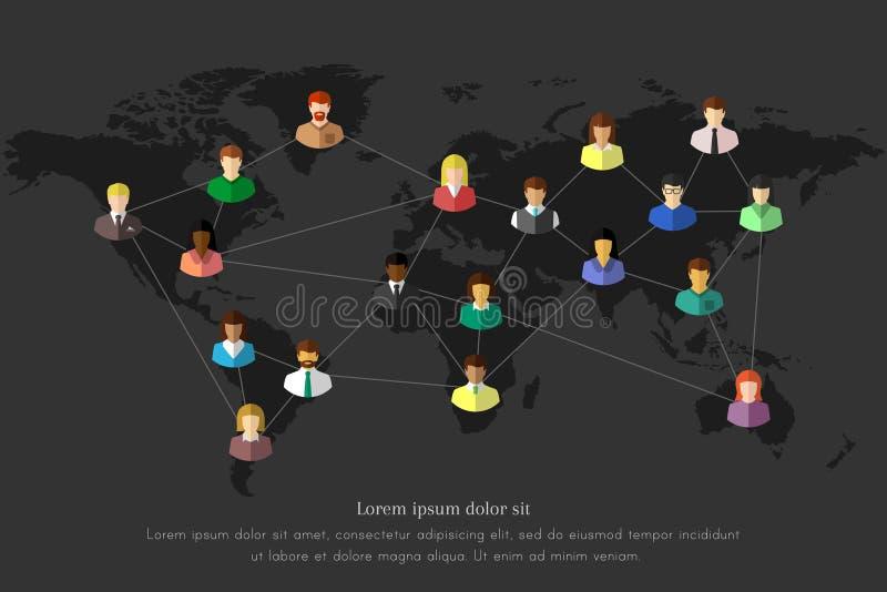 Concept de personnes et de réseau sur une carte du monde illustration stock