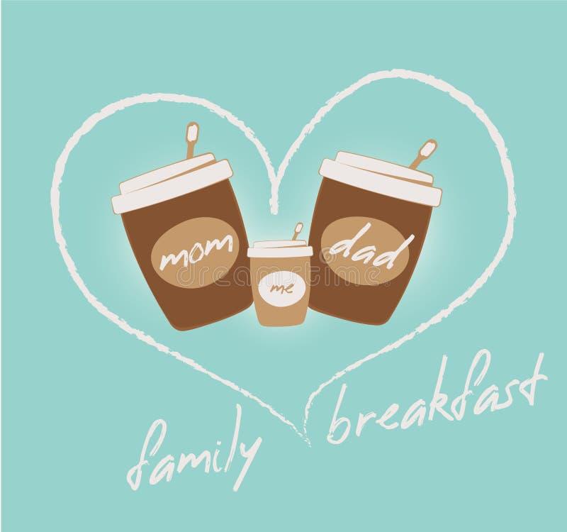 Concept de petit déjeuner de famille Café et coeur illustration de vecteur