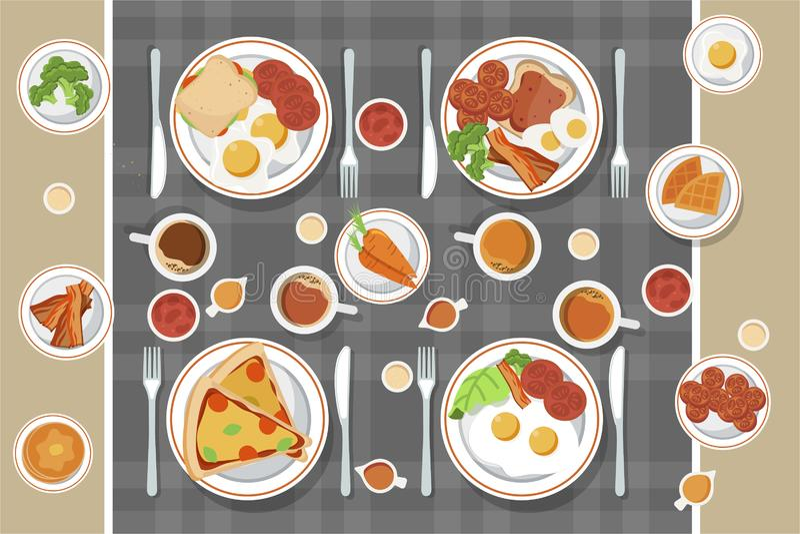 Concept de petit d?jeuner de vecteur r?gl? avec la nourriture et les boissons avec les ic?nes plates en composition Sandwich ? co illustration de vecteur