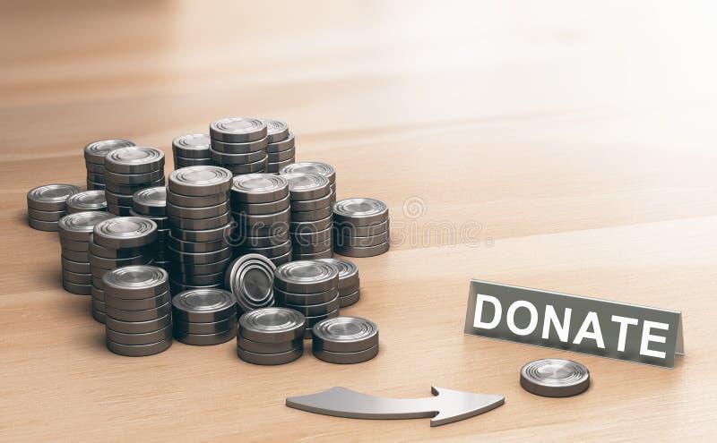 Concept de philanthropie, donation pour des buts charitables illustration de vecteur
