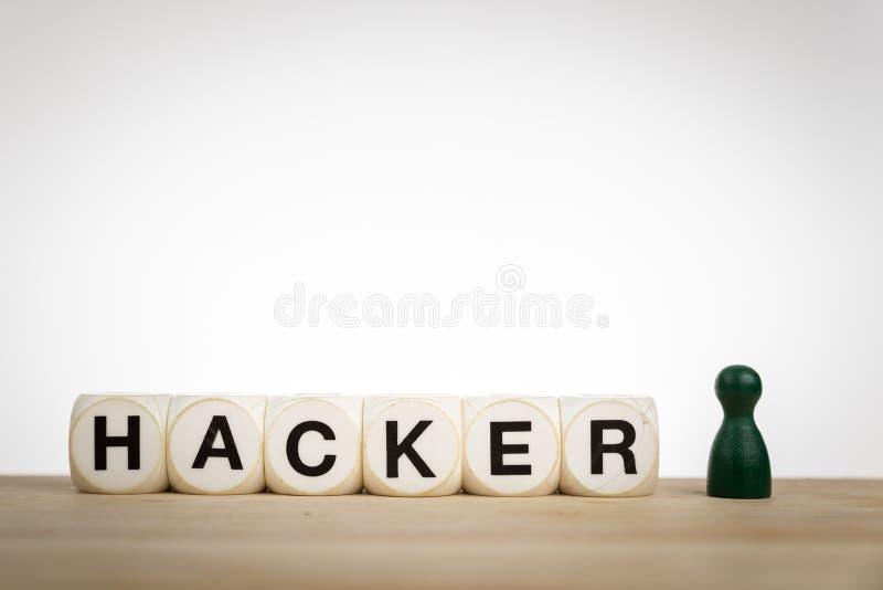 Concept de pirate informatique avec des matrices et des gages de jouet images libres de droits