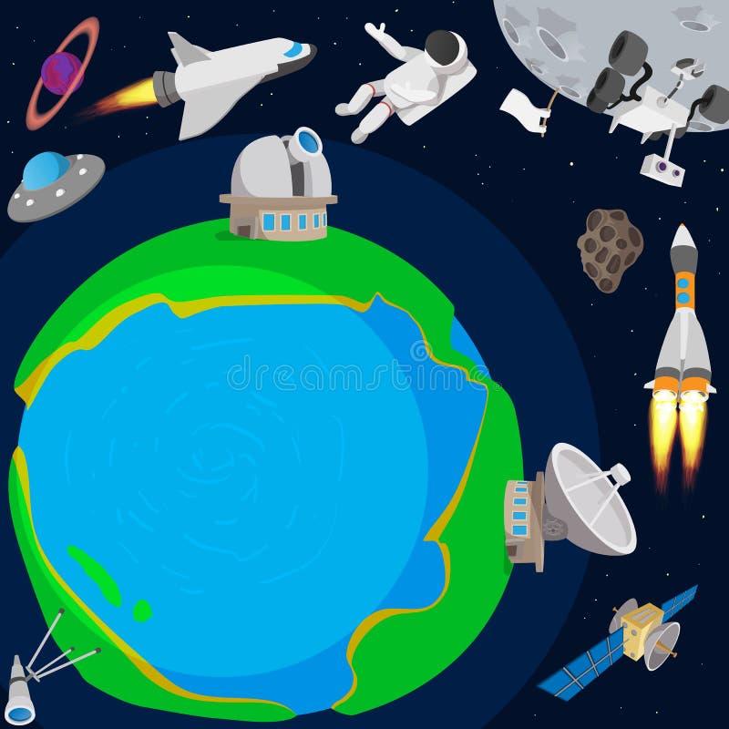 Concept de planète d'espace lointain, style de bande dessinée illustration stock