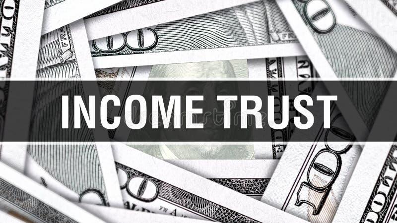 Concept de plan rapproché de confiance de revenu Dollars américains d'argent d'argent liquide, rendu 3D Confiance de revenu au bi illustration stock