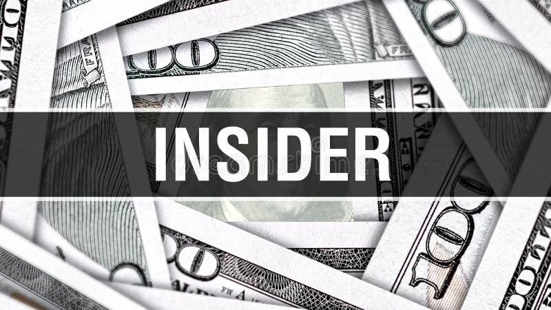 Concept de plan rapproché d'initié Dollars américains d'argent d'argent liquide, rendu 3D Initié au billet de banque du dollar Bi illustration libre de droits