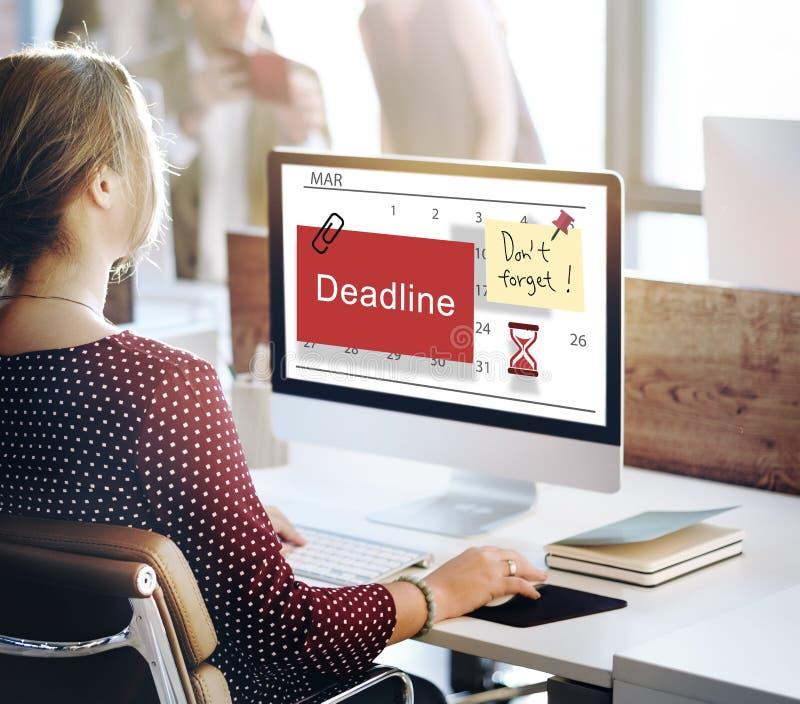 Concept de planificateur de calendrier de note de date-butoir images libres de droits