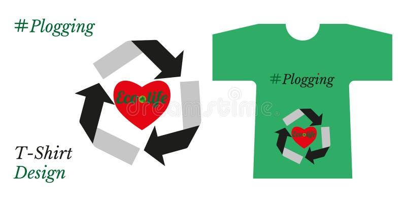 Concept de plogging Coeur - le mode de vie sain et le symbole de la réutilisation est soin d'écologie T- chemise avec le logo de  illustration libre de droits