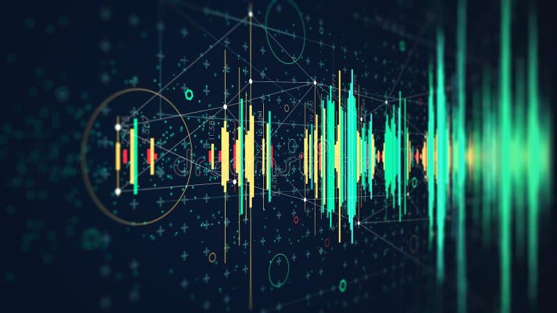 Concept de pointe de diagramme de vague de fréquence de technologie numérique, hud futuriste visualisant les données complexes illustration libre de droits