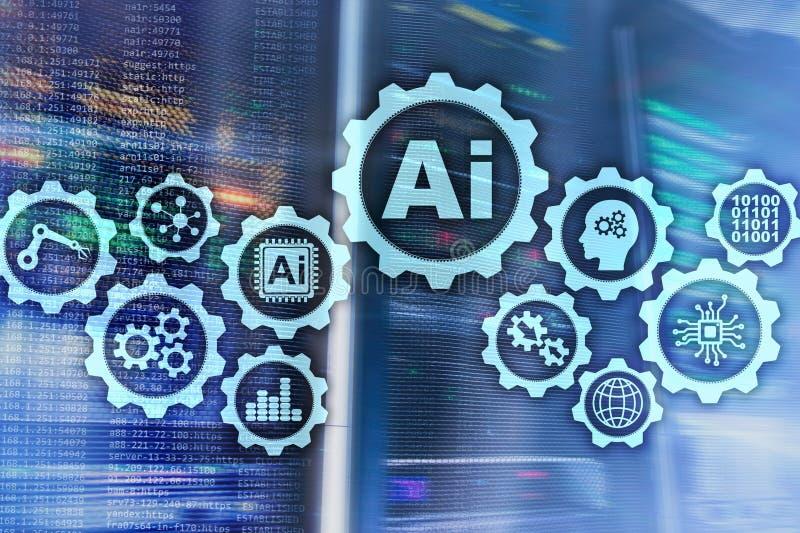 Concept de pointe de technologies d'affaires d'intelligence artificielle Fond futuriste de pi?ce de serveur AI illustration de vecteur
