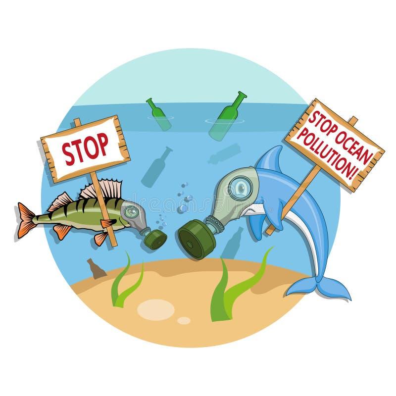 Concept de pollution d'océan Le dauphin dans un masque de gaz demande à arrêter la pollution de l'océan illustration stock