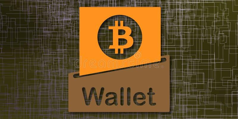 Concept de portefeuille de bitcoin illustration stock