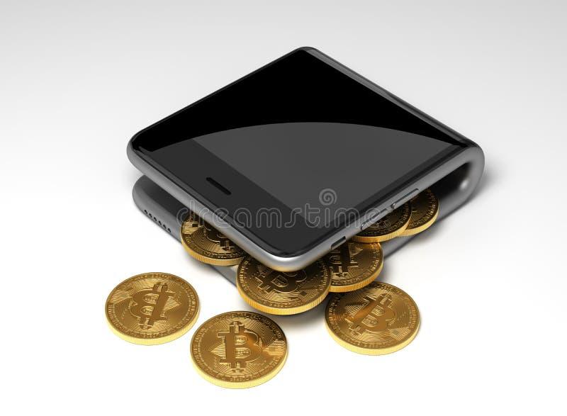 Concept de portefeuille et de pièces de monnaie virtuelles Bitcoins de Digital illustration stock