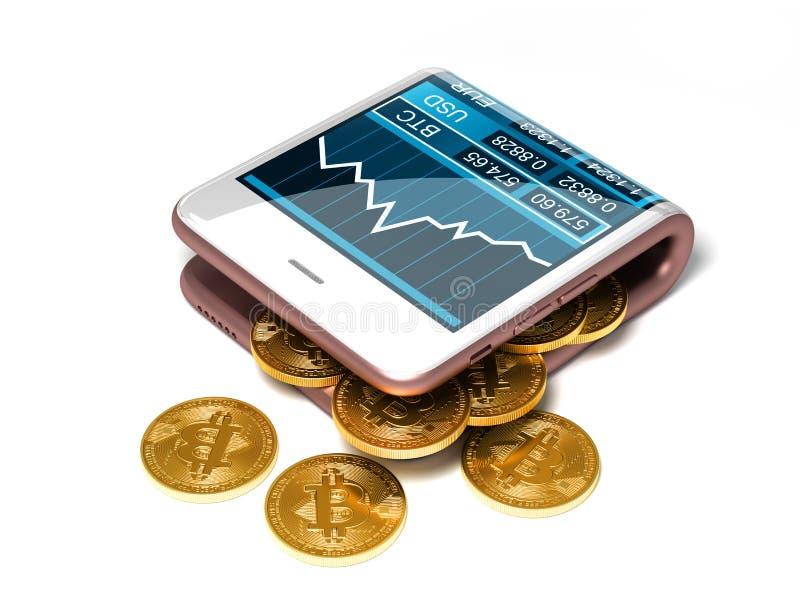 Concept de portefeuille rose et de Bitcoins de Digital sur le fond blanc illustration stock