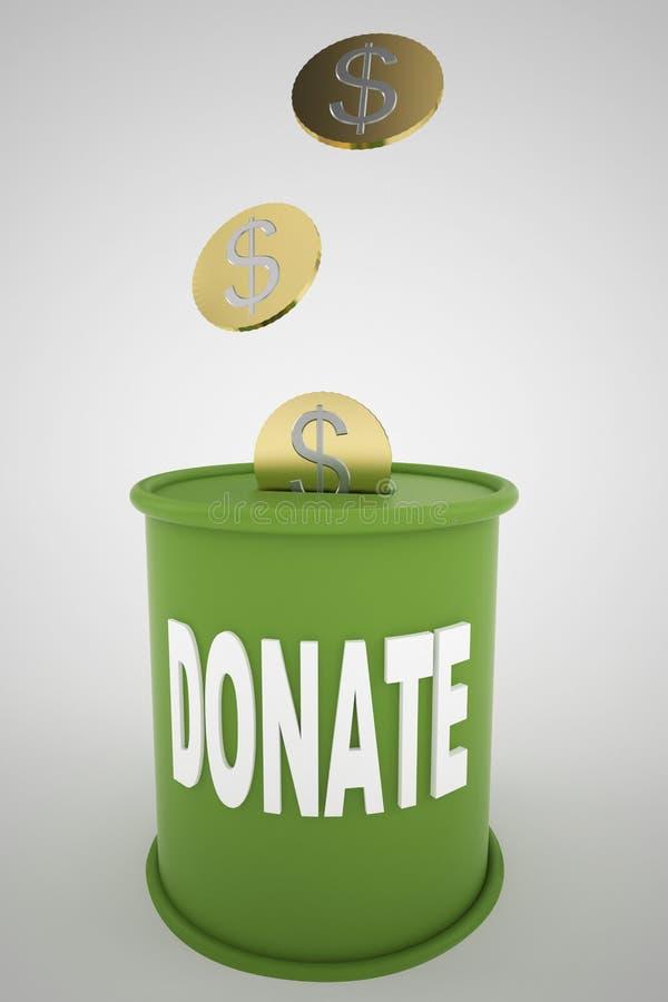 Concept de pot d'argent ou de boîte de donation illustration stock