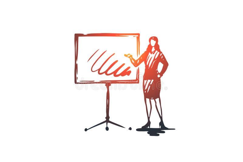 Concept de présentation d'affaires Illustration d'isolement par croquis tiré par la main illustration libre de droits