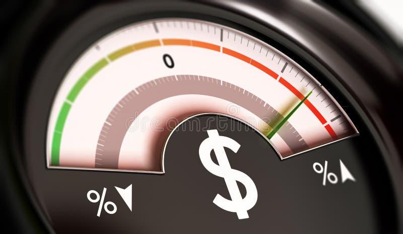 Concept de prix en hausse ou inflation de devise du dollar illustration libre de droits