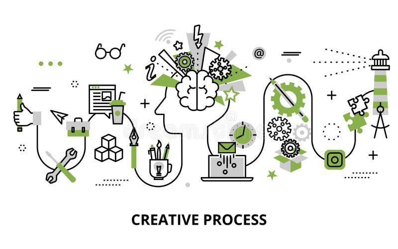 Concept de problème créatif de processus, de définition et de recherches illustration stock