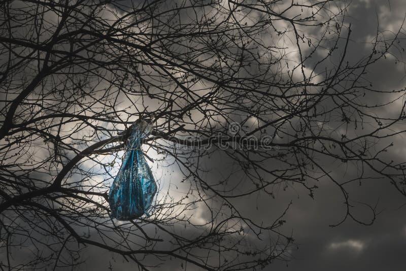 Concept de problème de pollution d'environnement sachet en plastique accrochant sur une branche photo stock