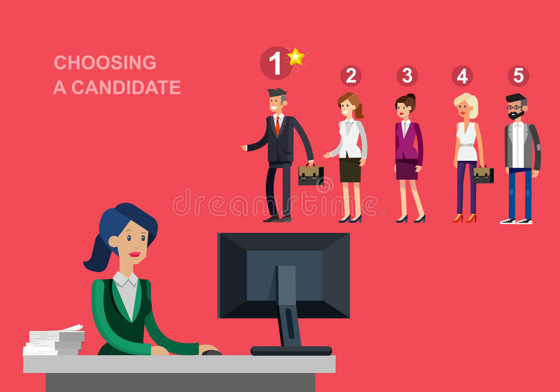 Concept de processus de location avec la sélection de candidat illustration de vecteur