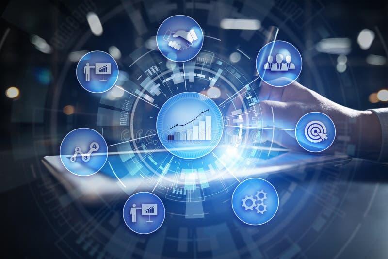 Concept de processus et de strat?gie d'affaires sur le fond d'?cran virtuel Innovation et solutions pour la croissance financi?re illustration libre de droits