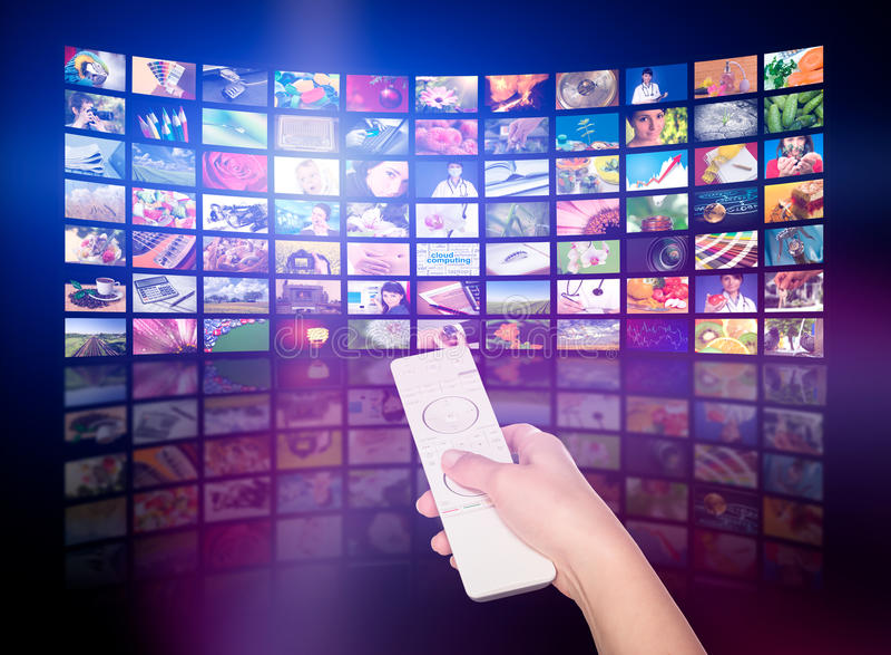 Concept de production de télévision Panneaux de film de TV images stock