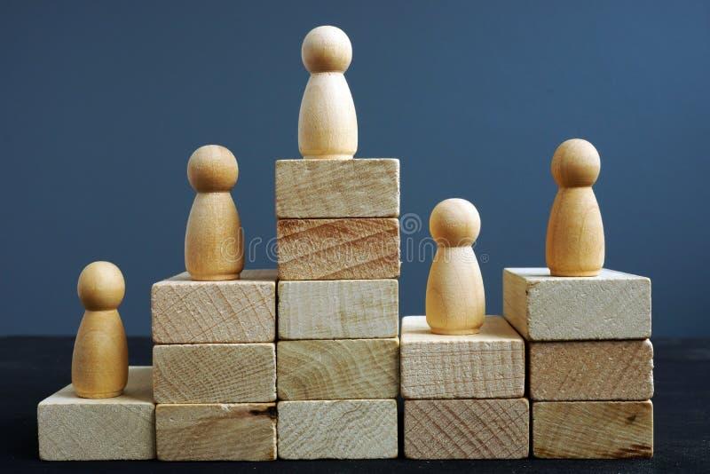 Concept de productivité des employés Blocs et figurines en bois Évaluation en heure images stock