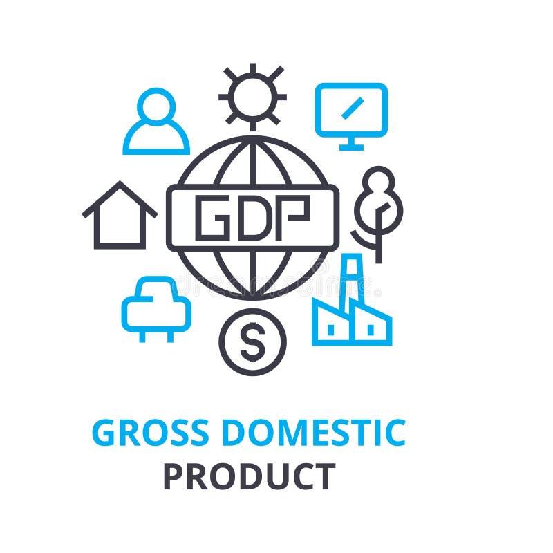 Concept de produit intérieur brut, icône d'ensemble, signe linéaire, ligne mince pictogramme, logo, illustration plate, vecteur images stock