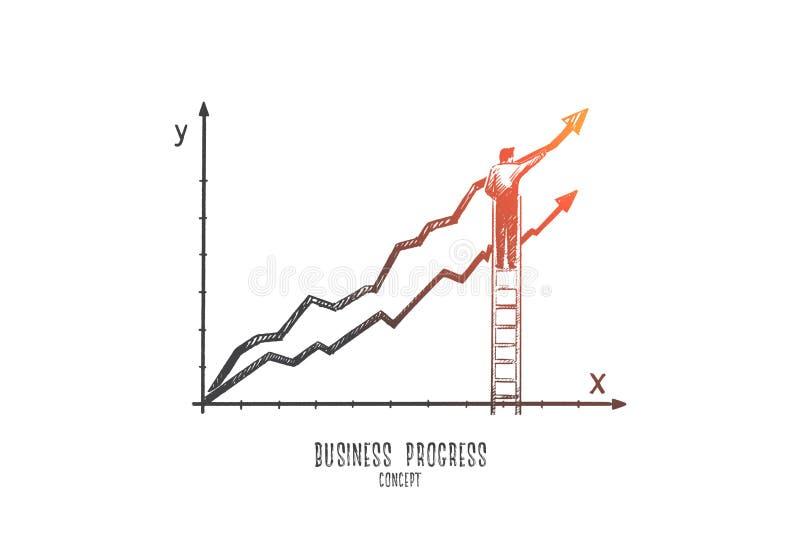 Concept de progrès d'affaires Vecteur d'isolement tiré par la main illustration de vecteur