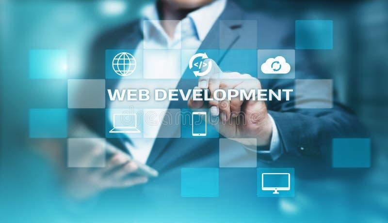 Concept de programmation d'affaires de technologie d'Internet de codage de développement de Web images stock